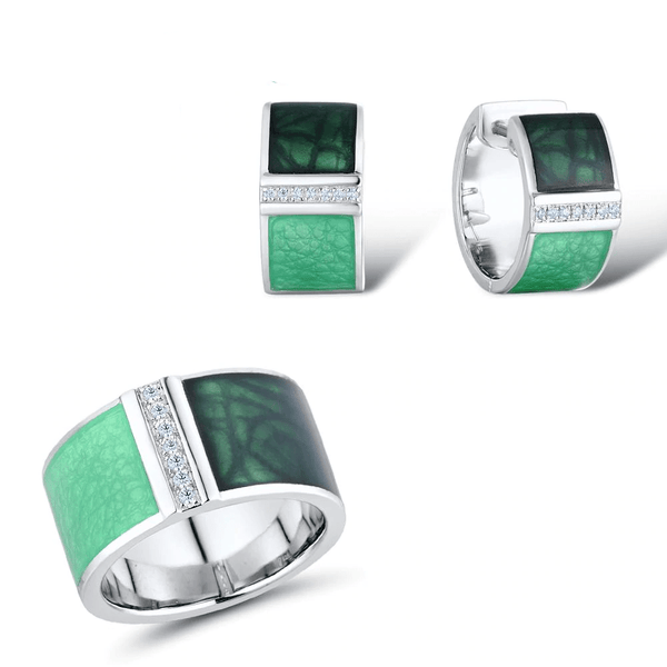 Square Shaped Handmade Green Enamel Veins S925 Silver Ring Earrings Set S01