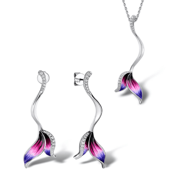 Stunning Fairy Tail Mermaid 925 Sterling Silver Necklace Earrings Set S01