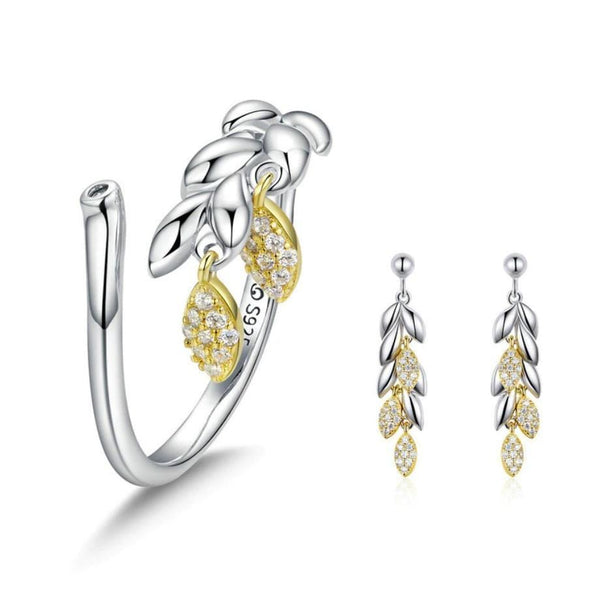 Wheat Harvesting Season 925 Sterling Silver Ring Earrings Set B01