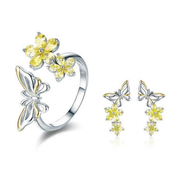 Yellow Apricot Flower Butterfly 925 Sterling Silver Ring Earrings Set B01