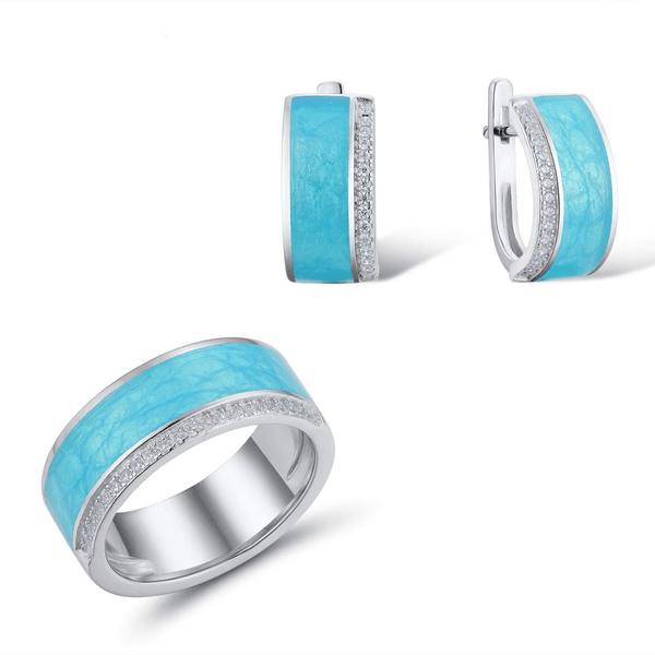 Exquisite Blue Enamel Veins CZ Line Rhodium Tone Ring Earrings Set S01