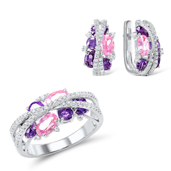 Shimmering Gemstones Center Of Cross Rhodium Tone Ring Earrings Set S01