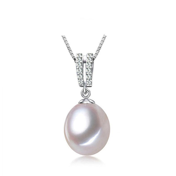 9-10mm Natural Freshwater Pearl 925 Sterling Silver Pendant Necklace F01