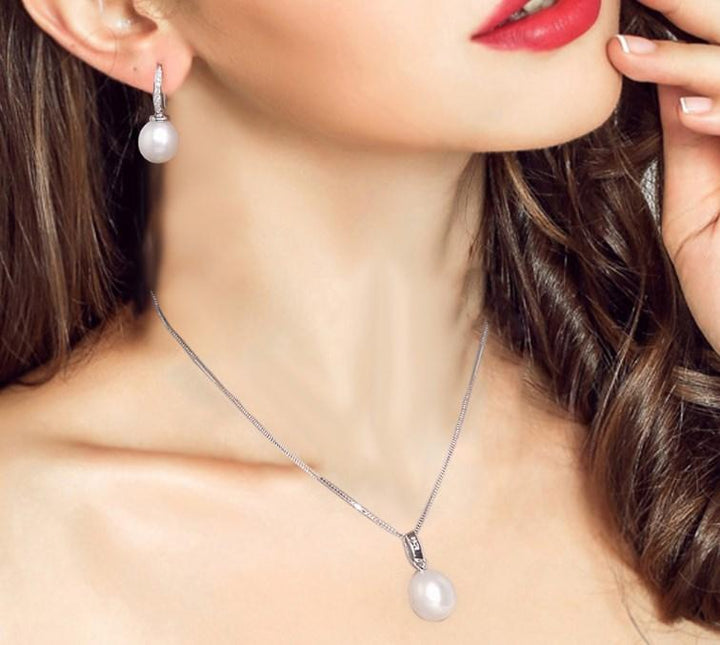 CNS Deals Women Necklace 9mm 100% Natural Freshwater Pearl Sterling Silver Pendant Necklace
