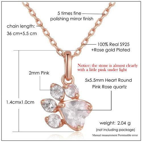 CNS Deals Women Necklace Bear Foot Natural Rose Quartz Rose Gold Plated Chain Necklace