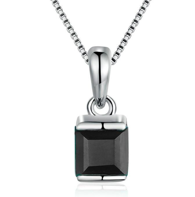 CNS Deals Women Necklace Black / 45cm Natural Square Chalcedony 925 Sterling Silver Chain Pendant Necklace