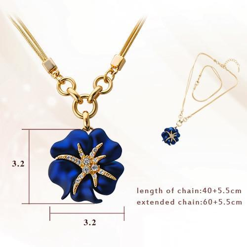CNS Deals Women Necklace Blue Attractive Blue/Red Hibiscus Flower Gold Plated Pendant Necklace V02