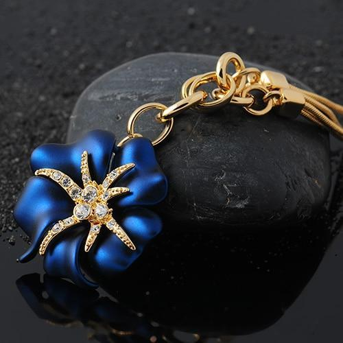 Attractive Blue Red Hibiscus Flower Gold Plated Pendant Necklace V02