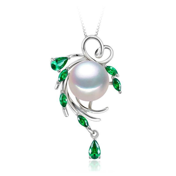 Bohemian Unique Design Natural Freshwater Pearl & Emerald Pendant Necklace F01