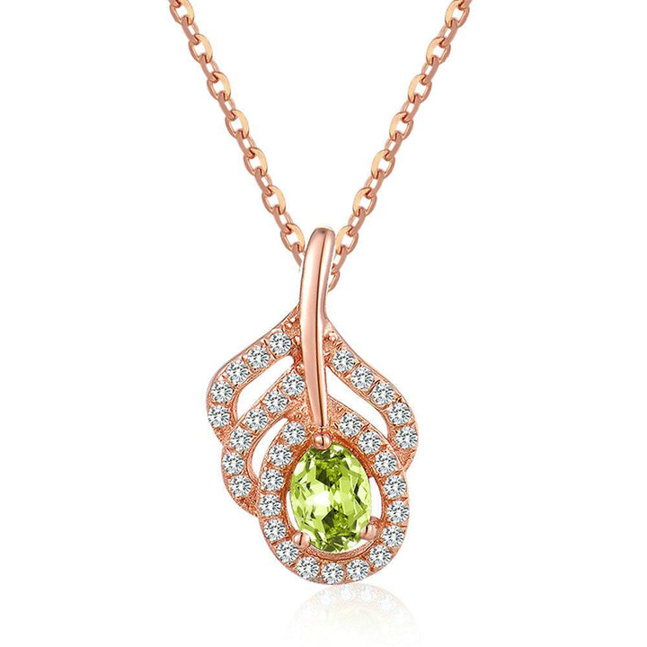 CNS Deals Women Necklace Classic Leaf Natural Oval Green Peridot Chain Necklace