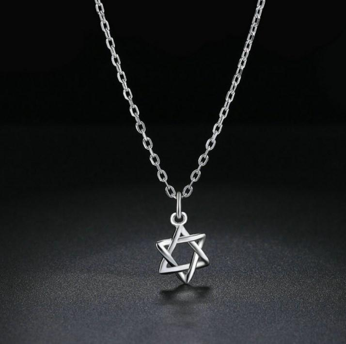 CNS Deals Women Necklace Classic Six-pointed Star Sterling Silver Pendant Necklace