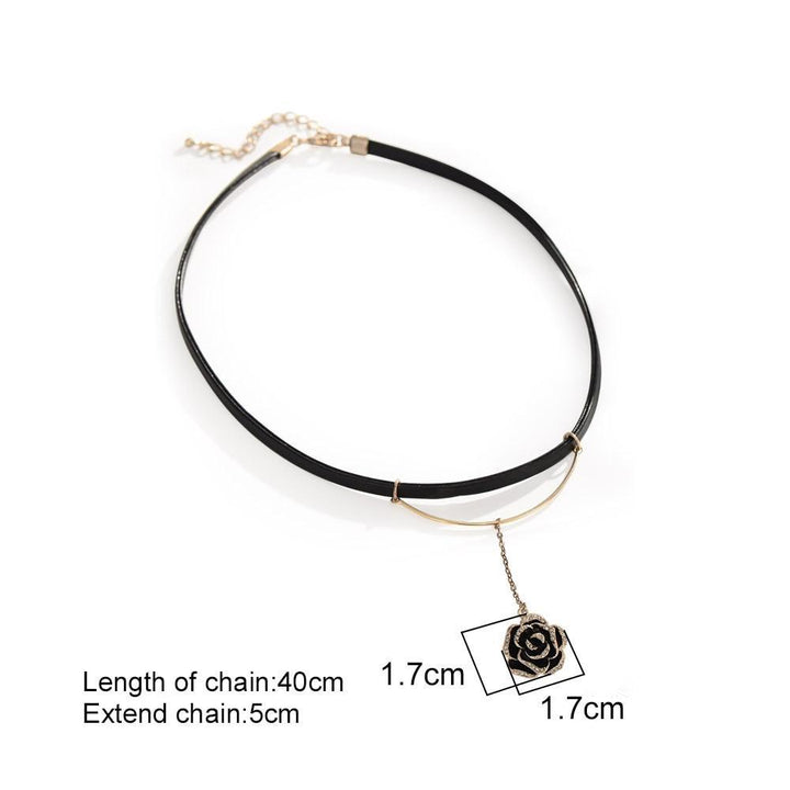 CNS Deals Women Necklace Dangling Unique Rose Blossom Pendant Leather Choker Necklace V02