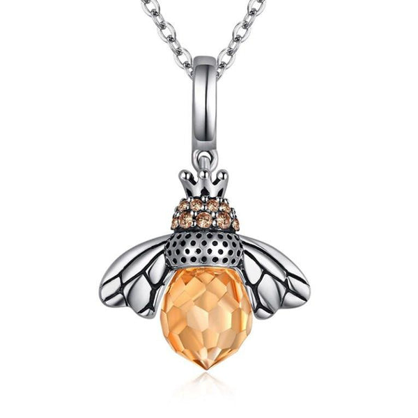 Glamorous Honey Bee Queen 925 Sterling Silver Pendant Necklace K01