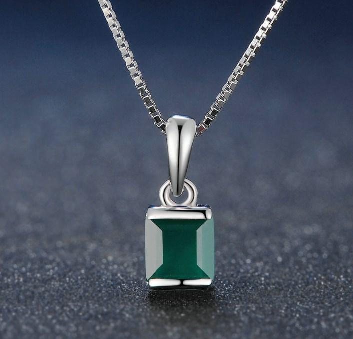 CNS Deals Women Necklace Green / 45cm Green Chalcedony 925 Sterling Silver Chain Pendant Necklace