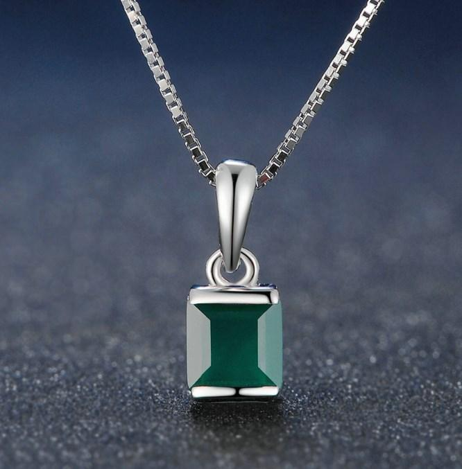 CNS Deals Women Necklace Green / 45cm Natural Square Chalcedony 925 Sterling Silver Chain Pendant Necklace