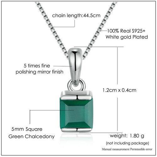 CNS Deals Women Necklace Green Chalcedony 925 Sterling Silver Chain Pendant Necklace