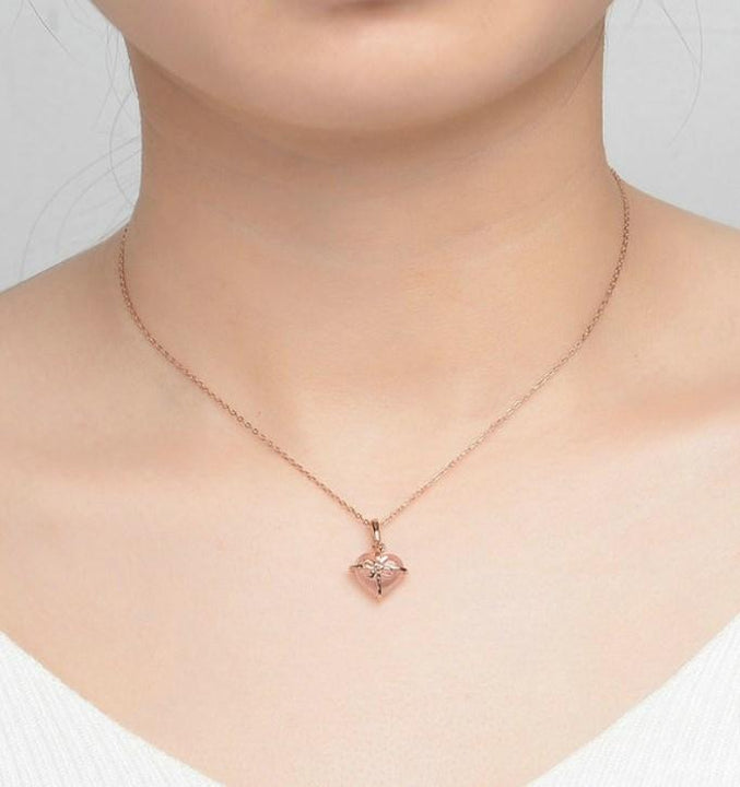CNS Deals Women Necklace Heart Natural Rose Quartz Chain Necklace Rose Gold Plated