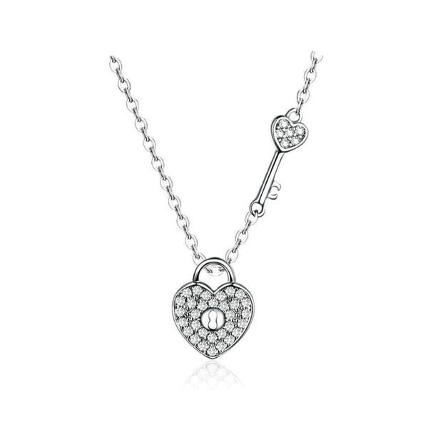 Infinity Love Symbol Lock & Key Platinum Plated Pendant Necklace B01
