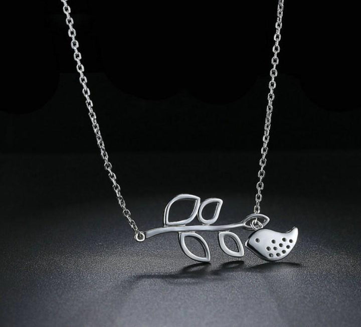 CNS Deals Women Necklace Leaf and Bird 925 Sterling Silver Pendant Necklace