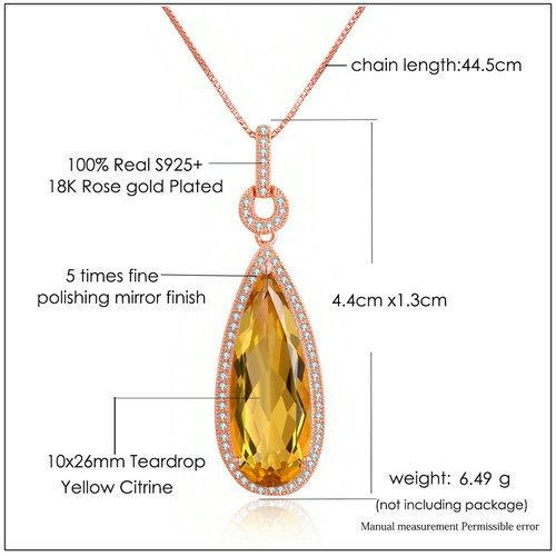 CNS Deals Women Necklace Luxury Natural Teardrop Citrine 18K Rose Gold Chain Pendant Necklace