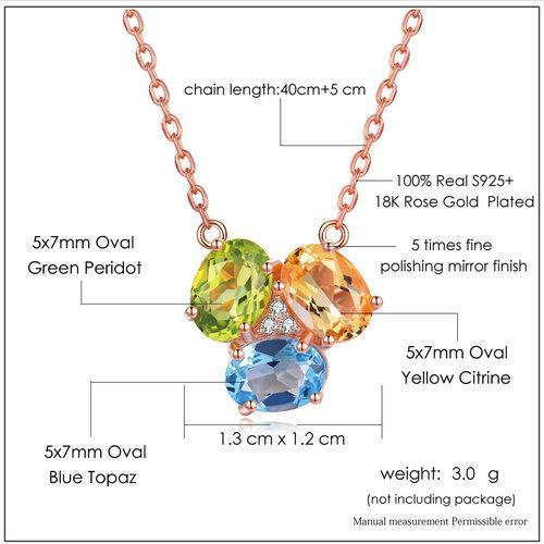CNS Deals Women Necklace Natural Citrine Peridot Topaz 18K Gold Plated Chain Pendant Necklace
