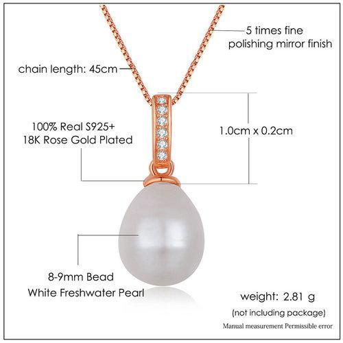 CNS Deals Women Necklace Natural Freshwater Pearl 18K Rose Gold Pendant Necklace