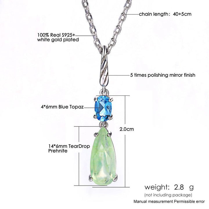 CNS Deals Women Necklace Natural Prehnite & Topaz White Gold Plated Chain Pendant Necklace