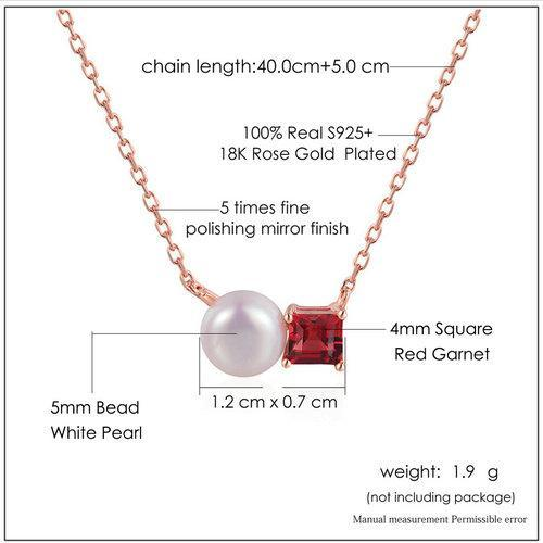 CNS Deals Women Necklace Natural Red Garnet Freshwater Pearl 18K Rose Gold Necklace
