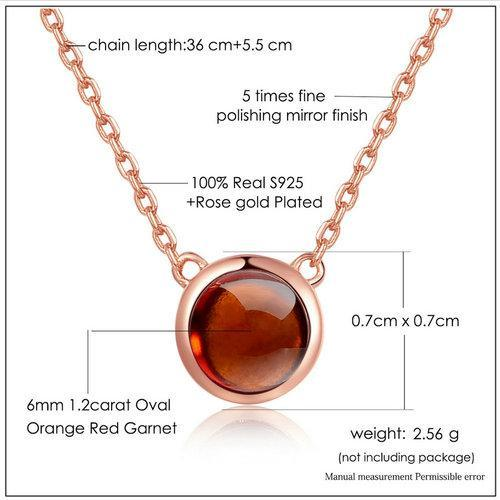CNS Deals Women Necklace Natural Round Orange Red Garnet Rose Gold Chain Pendant Necklace