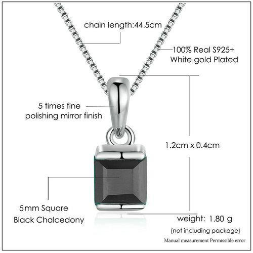 CNS Deals Women Necklace Natural Square Chalcedony 925 Sterling Silver Chain Pendant Necklace