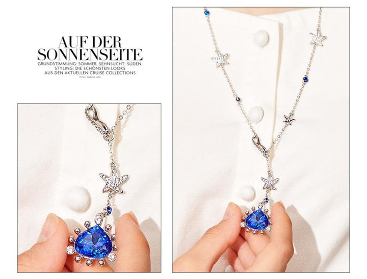 CNS Deals Women Necklace Ocean Melody Stunning Blue Crystal Silver Plated Long Necklace V02