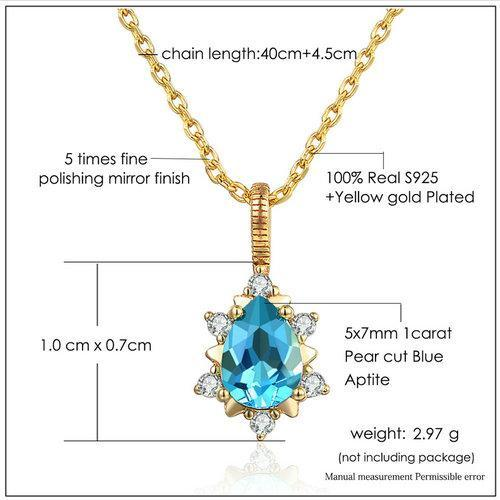 CNS Deals Women Necklace Pear Cut 1ct Natural Apatite 14K Yellow Gold Necklace