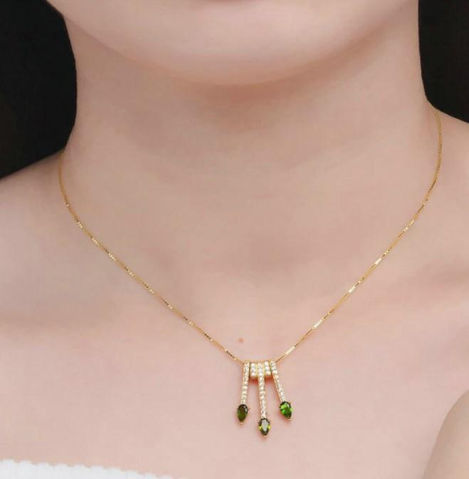 CNS Deals Women Necklace Pear Shaped Natural Diopside Chain Arrows Pendant Necklace