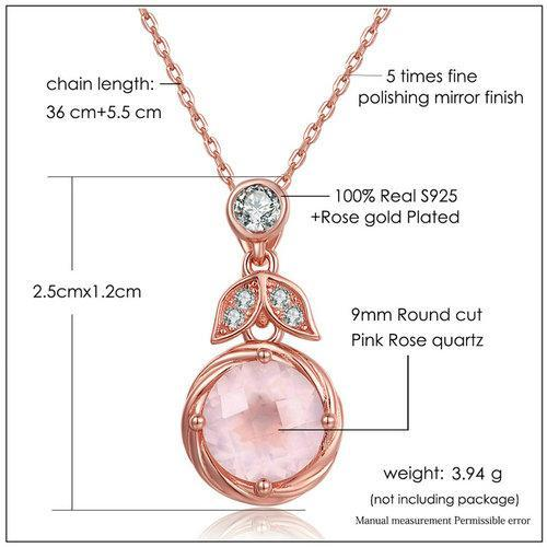 CNS Deals Women Necklace Pink Flower 9mm Natural Rose Quartz 18K Rose Gold Plated Necklace