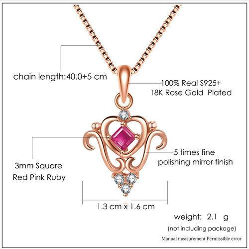 CNS Deals Women Necklace Princess Cut 100% Real Square Ruby 925 Sterling Silver Chain Pendant Necklace