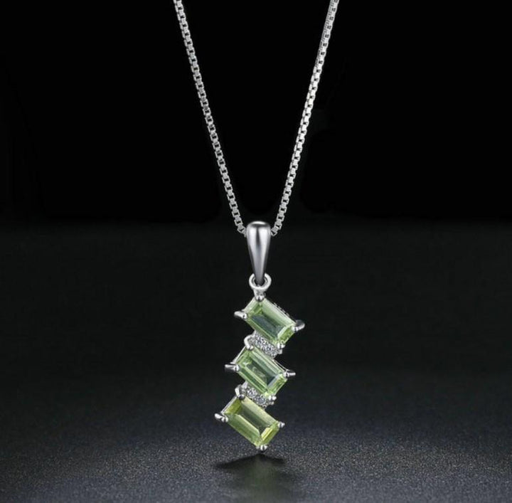 CNS Deals Women Necklace Rectangle Shaped Peridot 925 Sterling Silver Chain Pendant Necklace