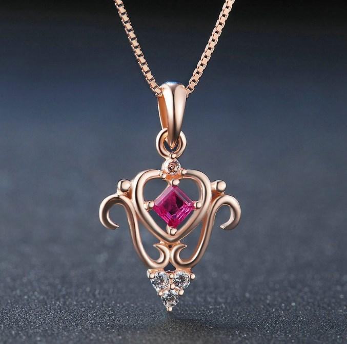 CNS Deals Women Necklace Red / 45cm Princess Cut 100% Real Square Ruby 925 Sterling Silver Chain Pendant Necklace