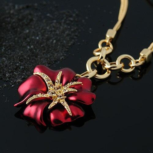 CNS Deals Women Necklace Red Attractive Blue/Red Hibiscus Flower Gold Plated Pendant Necklace V02