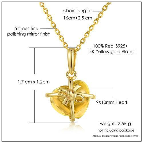 CNS Deals Women Necklace Romantic Heart Citrine 14K Yellow Gold Chain Pendant Necklace