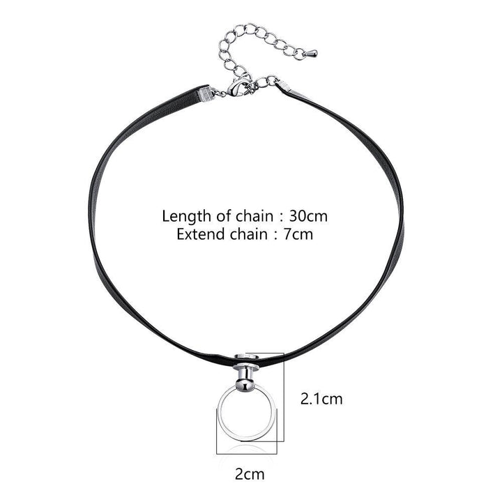 CNS Deals Women Necklace Simple Door Knocker Pendant Black Leather Choker Necklace V02