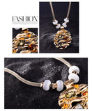 CNS Deals Women Necklace Splendid Colorful Stone On The Moon Gold Plated Pendant Necklace V02