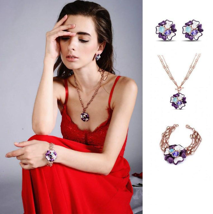 CNS Deals Women Necklace Stunning Purple Crystal Flower Rose Gold Plated Pendant Necklace V02