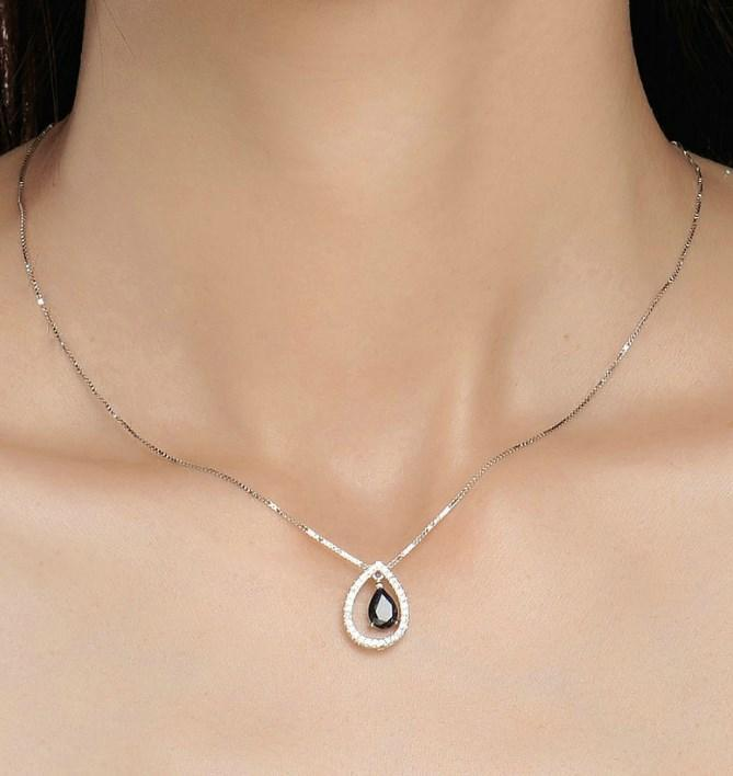 CNS Deals Women Necklace Teardrop Real Blue Sapphire 925 Sterling Silver Chain Pendant Necklace
