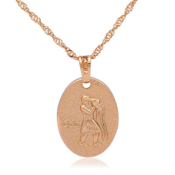 CNS Deals Women Necklace Unique 12 Zodiac Constellations Gold Plated Pendant Necklace R01
