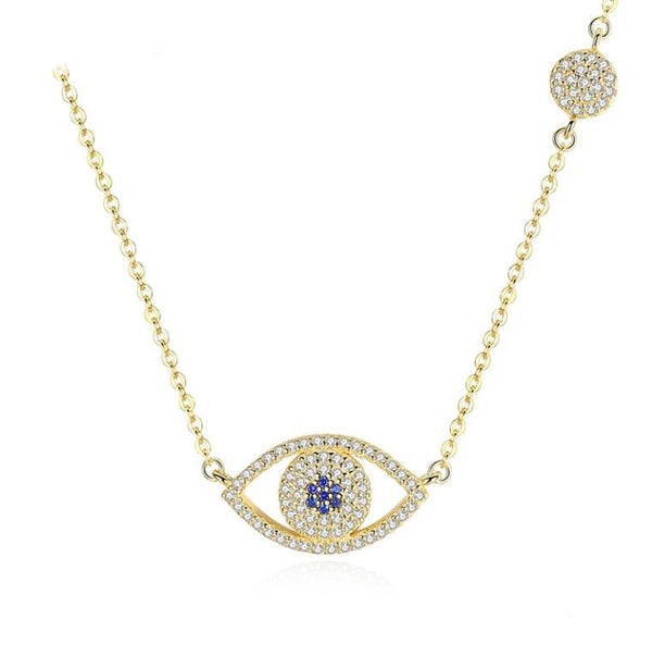 Vivid Golden Ocean Eye Gold Plated Over Silver Pendant Necklace K01