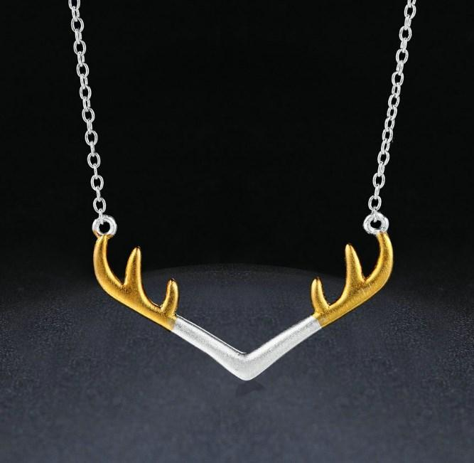 CNS Deals Women Necklace Wire Drawing Charm Antlers Chain Necklace Sterling Silver