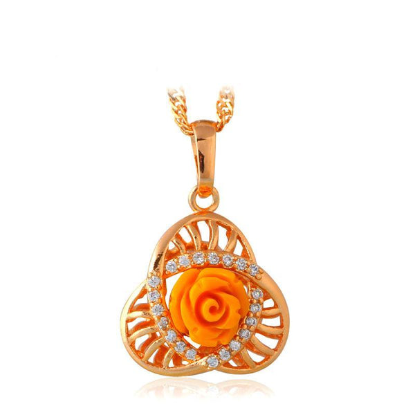Yellow Rose Blossom Twisted Clover 18K Gold Tone Pendant Necklace R01