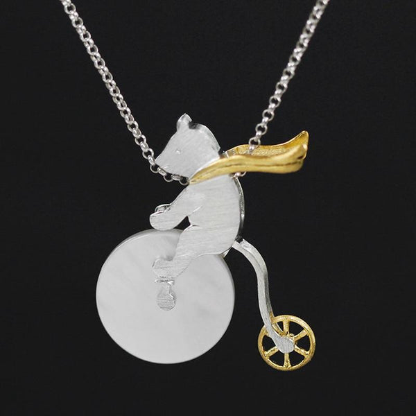 Cute Bicycle Riding Bear S925 Silver Necklace Pendant L02