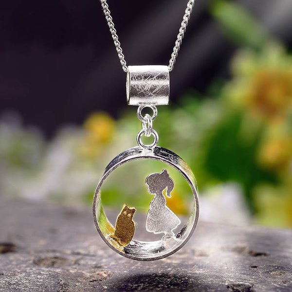 Fantastic Meeting Love With Cat S925 Silver Necklace Pendant L02