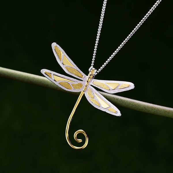 Fantastic Spiral Tail Dragonfly S925 Silver Necklace Pendant L02